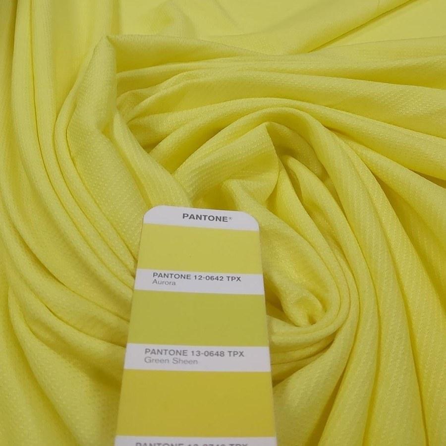 Tecido Crepe de Viscose Granitê Amarelo Cítrico