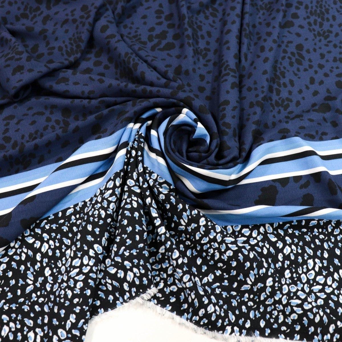 Tecido Crepe de Viscose Italiano Animal Print Barrado Azul Marinho