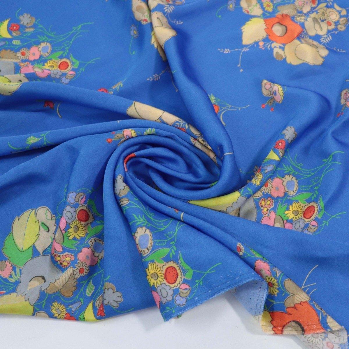Tecido Crepe de Viscose Italiano Floral Abstrato Azul