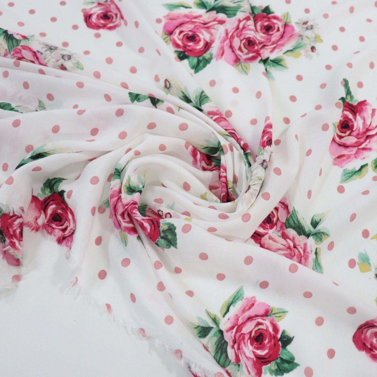 Tecido Crepe de Viscose Italiano Floral e Poá Tons de Rosa
