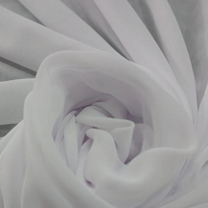 Tecido Crepe Georgete Toque de Seda Branco