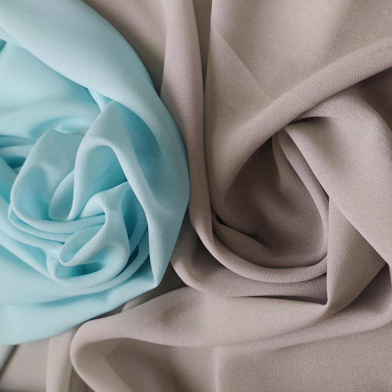 Tecido Crepe Georgette Degradê Azul Tiffany e Prata