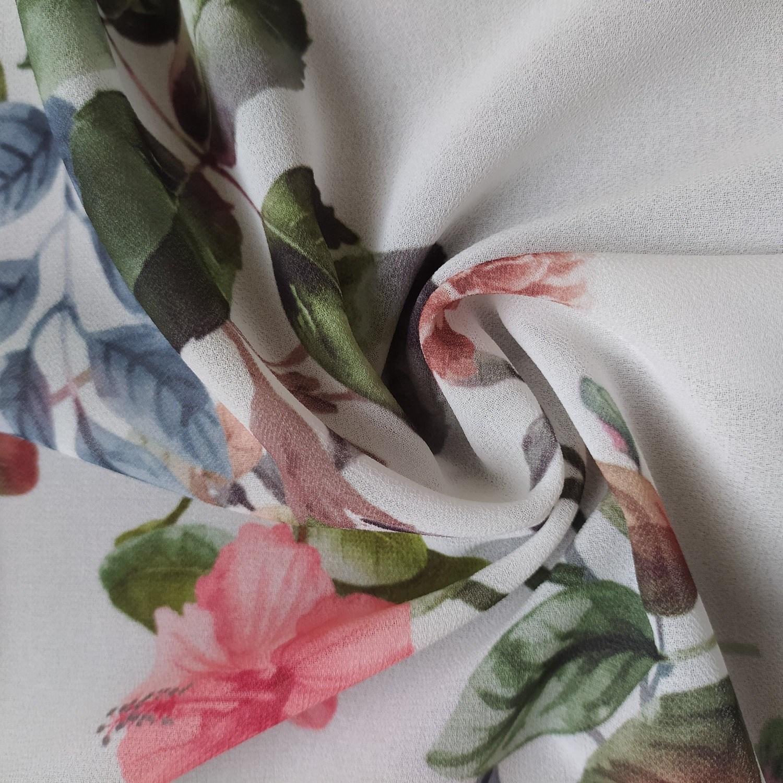 Tecido Crepe Georgette Estampado Floral Off white