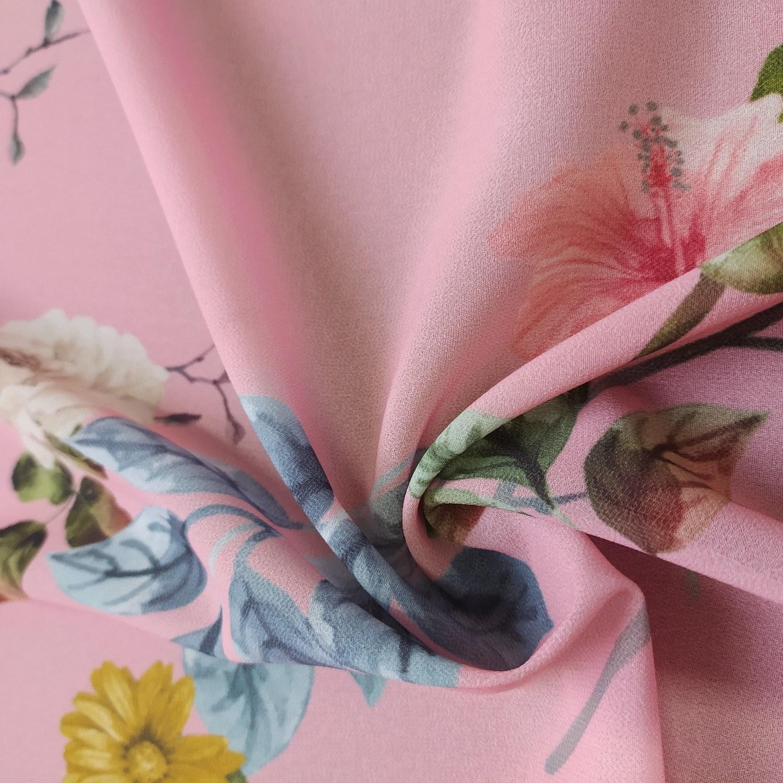 Tecido Crepe Georgette Floral Rosa