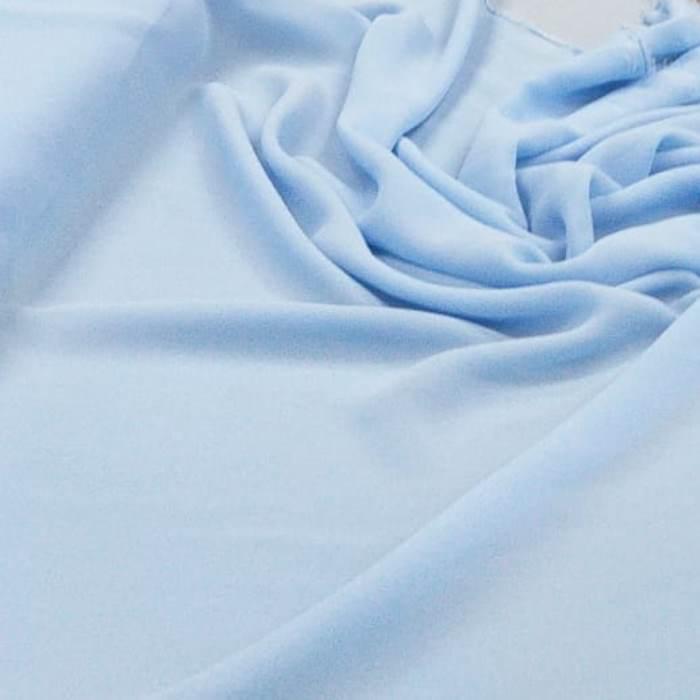 Tecido Crepe Georgette Toque de Seda Azul Céu