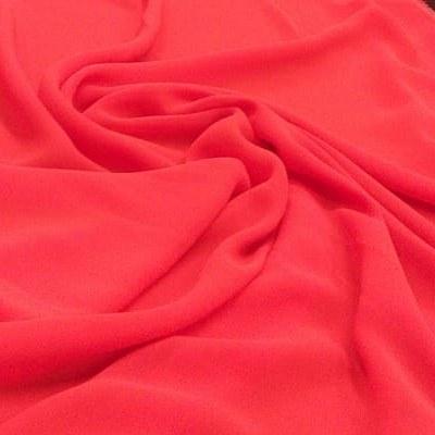 Tecido Crepe Georgette Toque de Seda Coral Pantone 17-1563