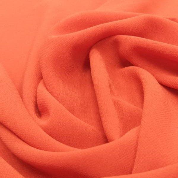 Tecido Crepe Georgette Toque de Seda Laranja Pantone 17-1463