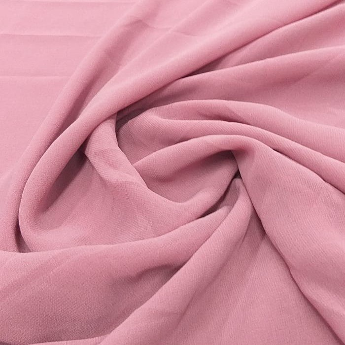 Tecido Crepe Georgette Toque de Seda Rosa Antigo Pantone 16-1626