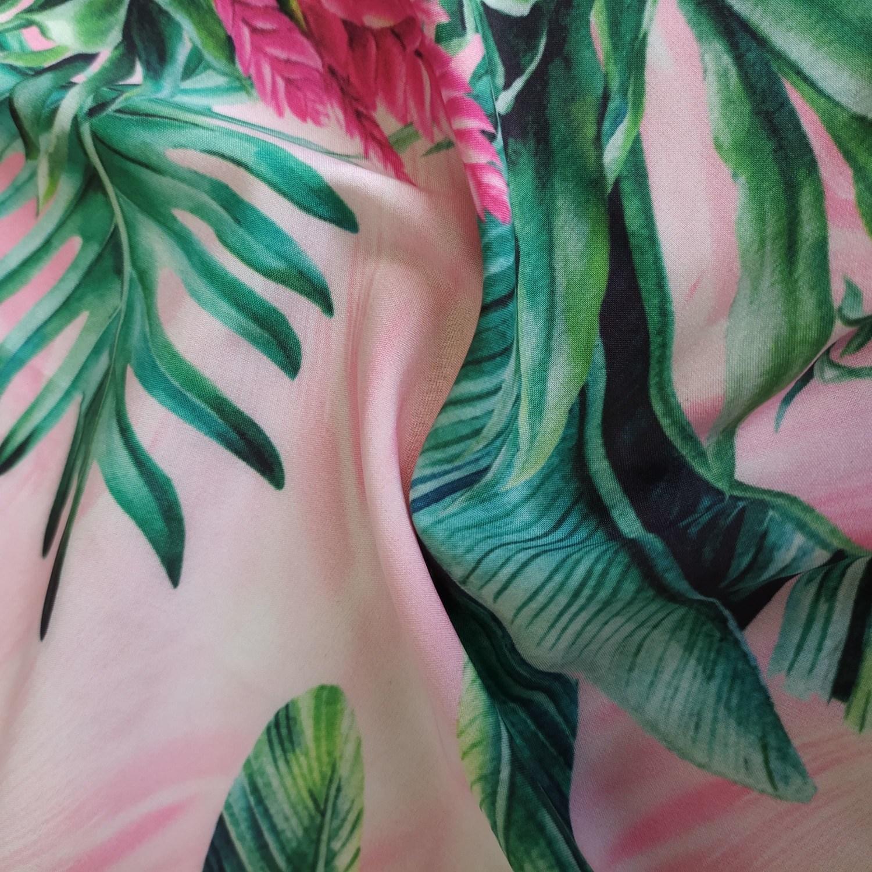 Tecido Crepe Seda Pluma Pareô Estampado Tropical