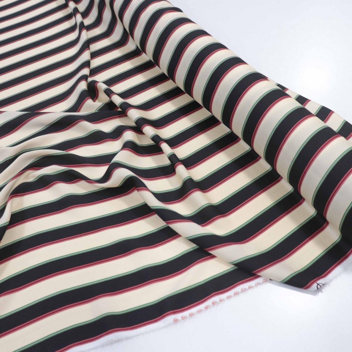 Tecido Crepe Silk Italiano Macro Listras Preto e Bege
