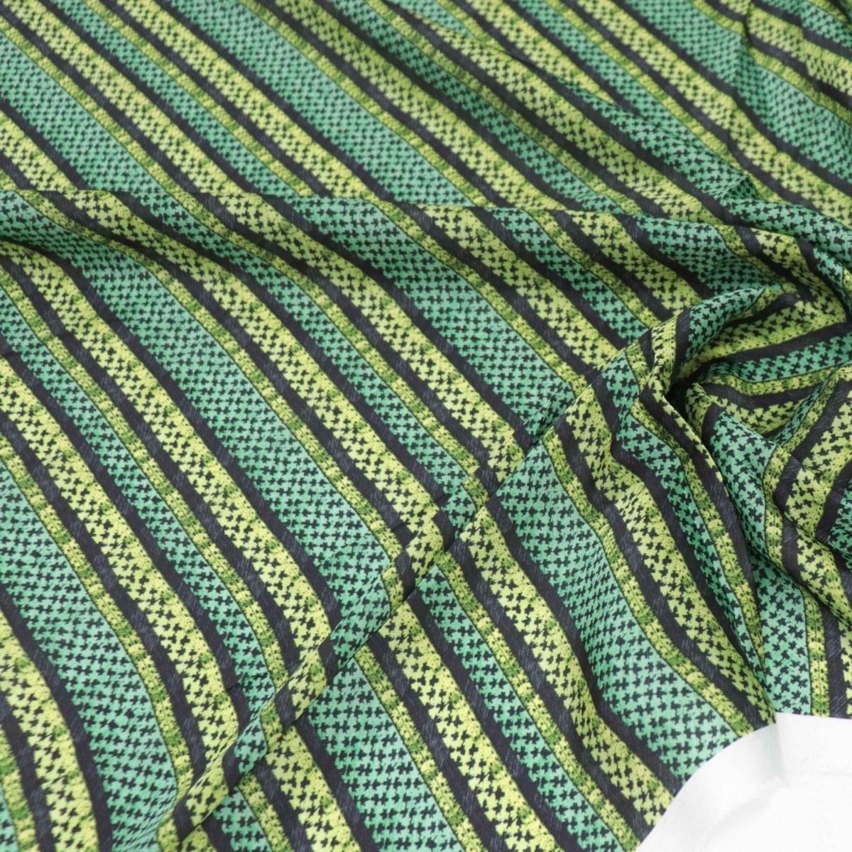 Tecido Crepe Silk Listras Tons de Verde