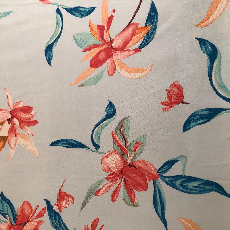 Tecido Crepe Soft Floral Azul Claro