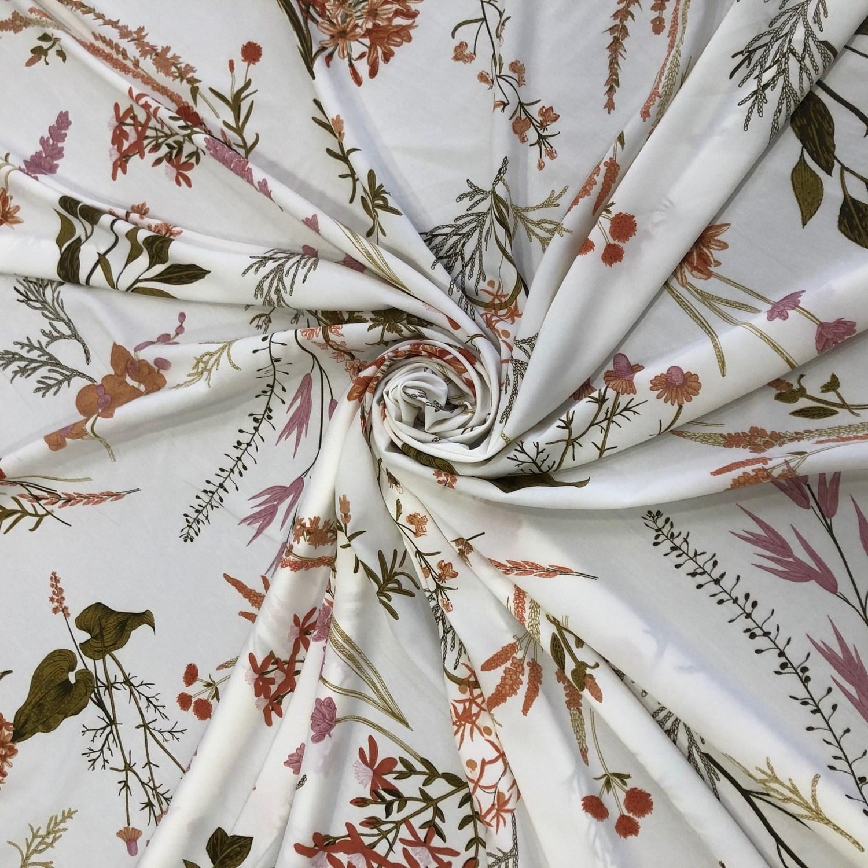 Tecido Crepe Soft Floral Off White