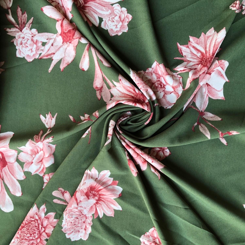 Tecido Crepe Soft Floral Oliva/Rosa