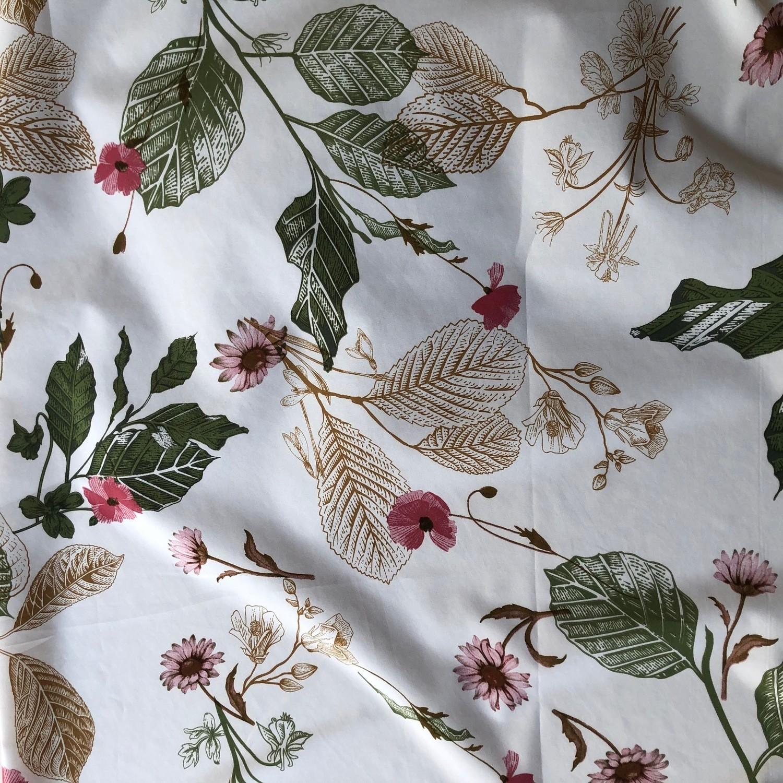 Tecido Crepe Soft Floral/Folhas