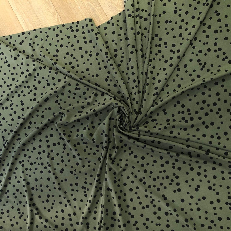 Tecido Crepe Soft Poa oliva/preto
