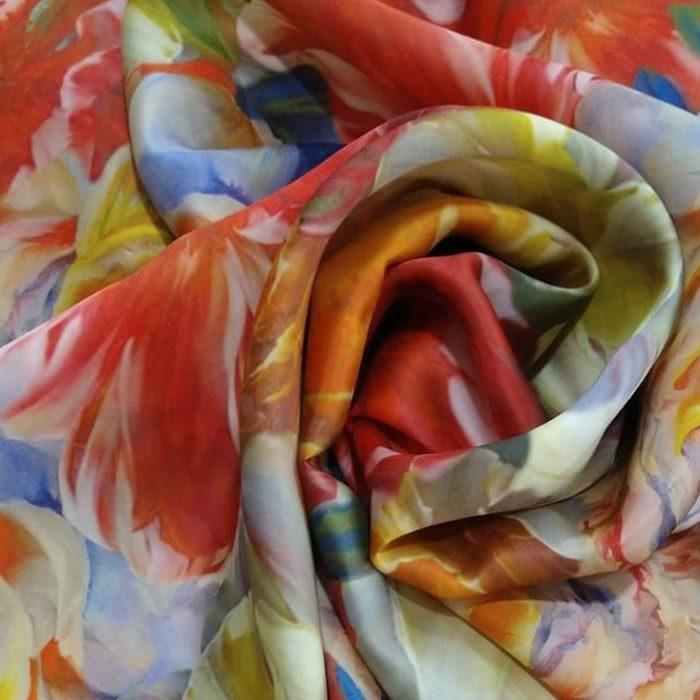 Tecido Gazar De Seda Pura Coleção Aquarelas Exclusiva Em Estampa Floral