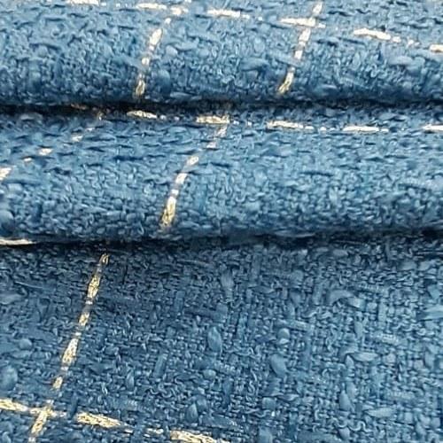 Tecido Lã Tweed Azul Com Fio Metalizado Bege
