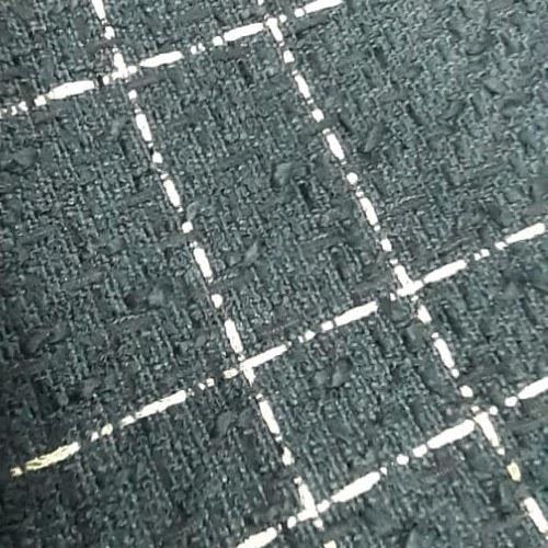 Tecido Lã Tweed Azul Marinho Com Fio Metalizado Dourado