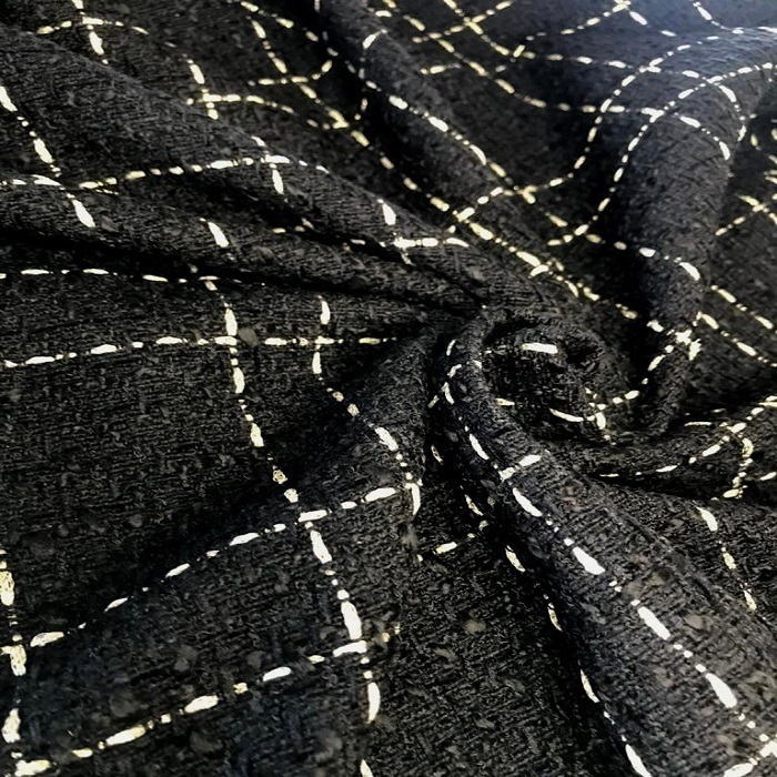 Tecido Lã Tweed Estilo Tear Preto com Dourado