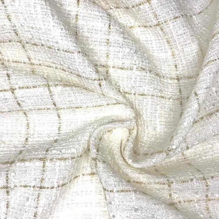 Tecido Lã Tweed Estilo Tear Off Withe com Dourado