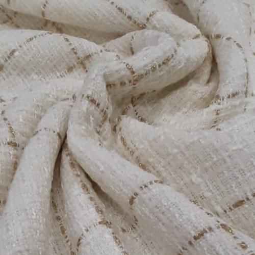Tecido Lã Tweed Off White Com Fio Metalizado Dourado