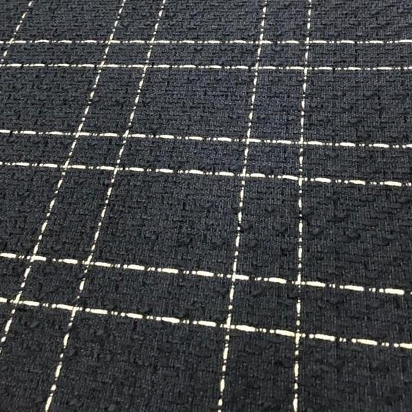 Tecido Lã Tweed Preto Com Fio Metalizado Dourado