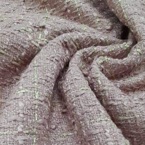 Tecido Lã Tweed Rose Com Fio Metalizado Dourado