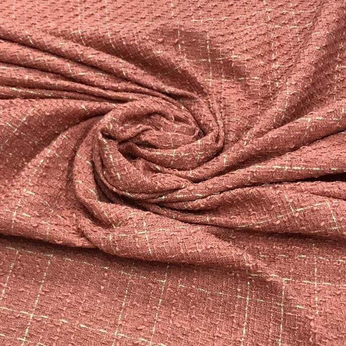 Tecido Lã Tweed Carmim Com Fio Metalizado Dourado