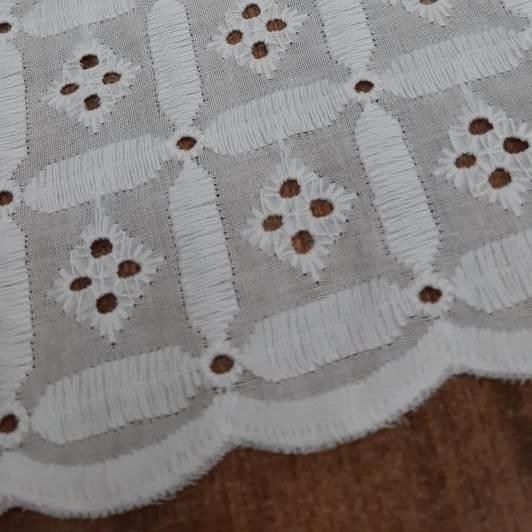Tecido Laise Bordada Quadrados Branca