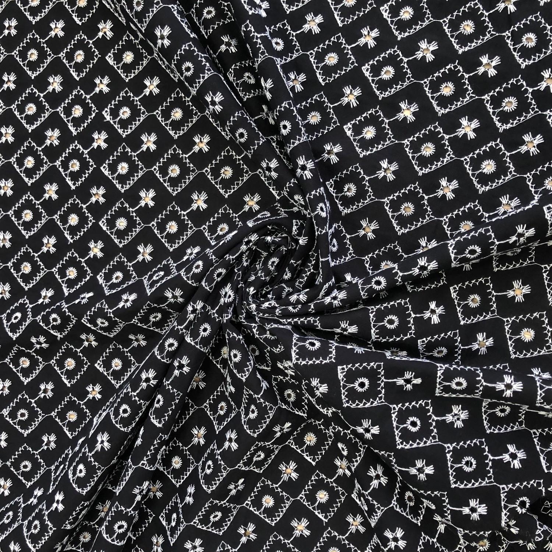Tecido Laise de Algodão preto/branco
