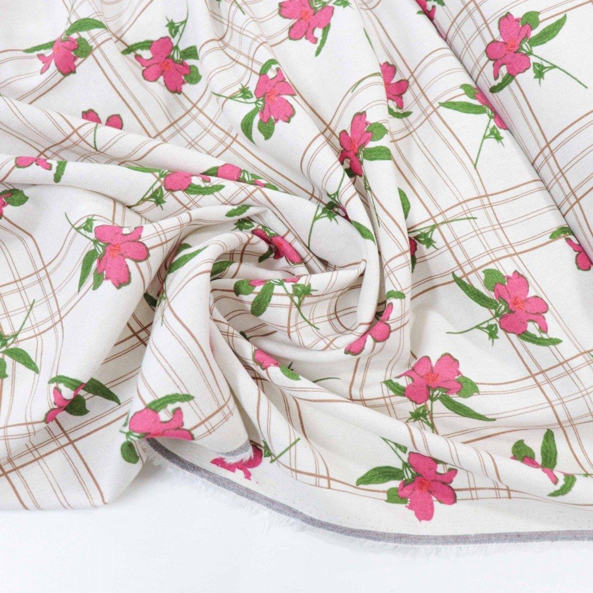 Tecido Linho Misto Floral e Xadrez Cru e Rosa