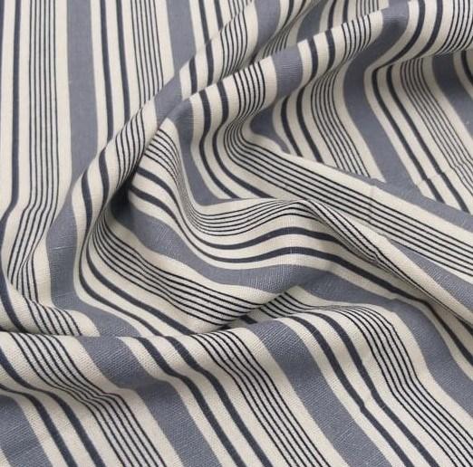 Tecido Linho Misto Listrado Off White Cinza e Azul Marinho