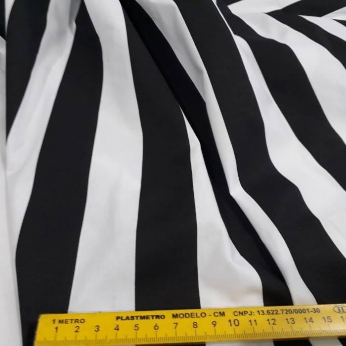 Tecido Sarja listrado preto e branco