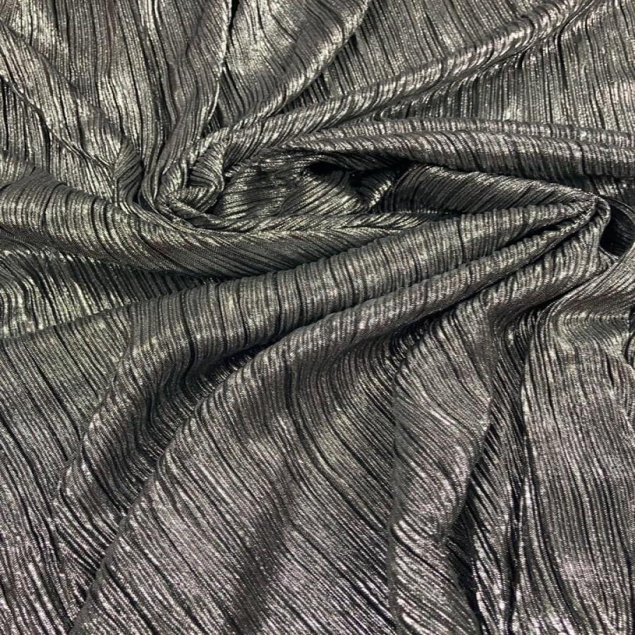 Tecido Lurex Plissado Dupla Face Prata com Preto