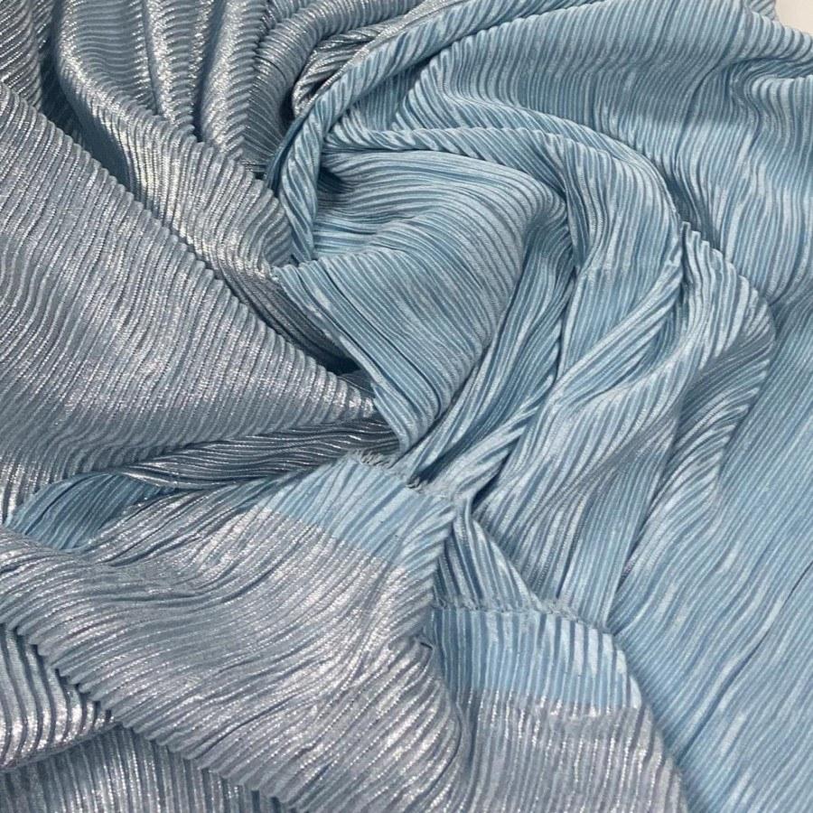 Tecido Lurex Plissado Dupla Face Azul Serenity com Prata