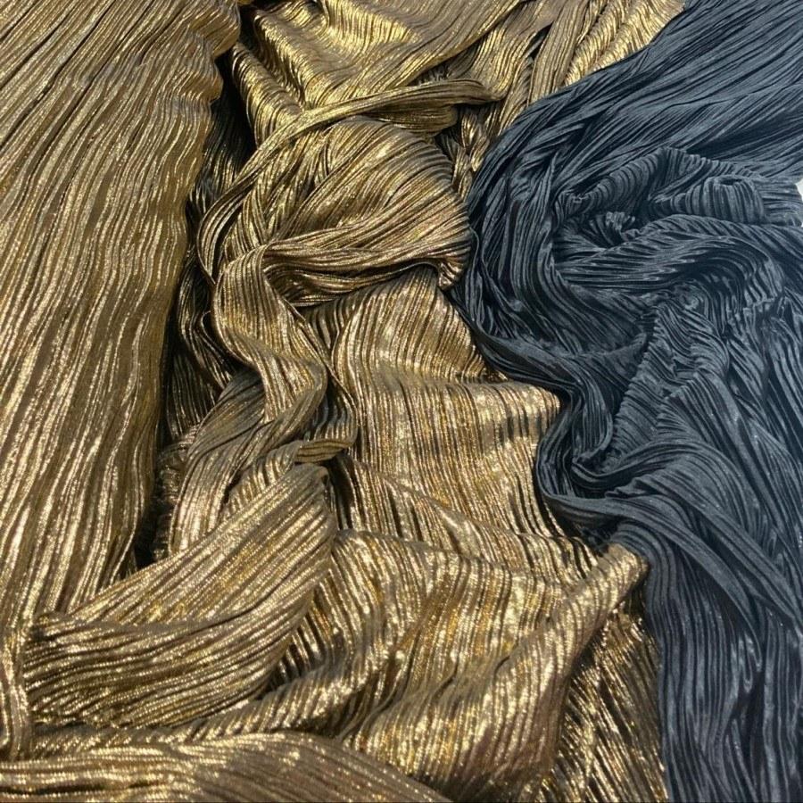 Tecido Lurex Plissado Dupla Face Dourado e Preto