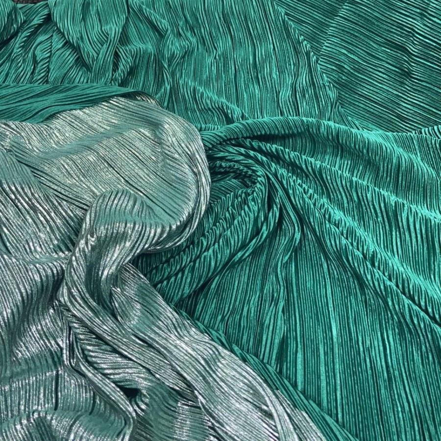 Tecido Lurex Plissado Dupla Face Verde Folha e Prata
