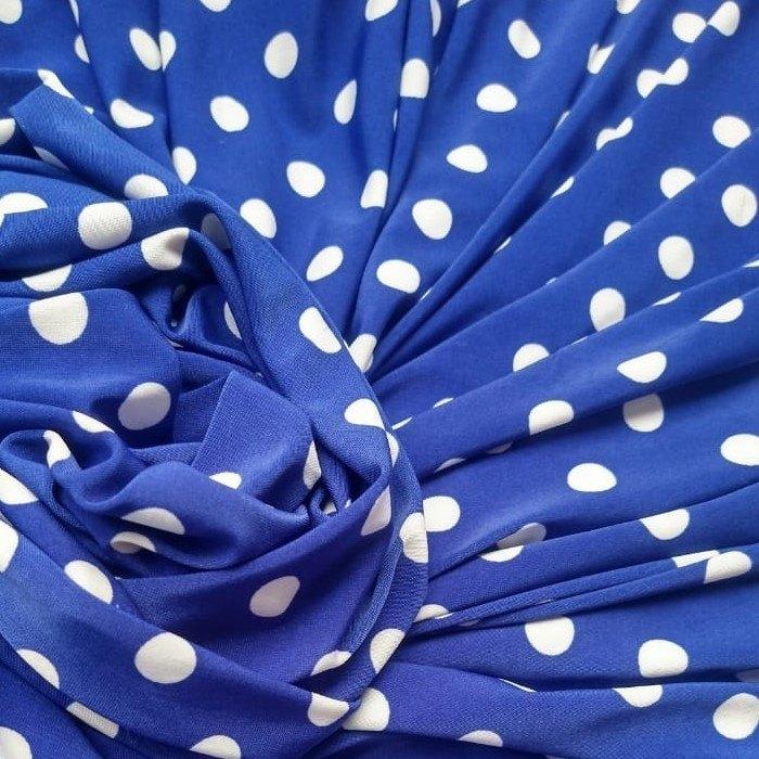 Tecido Malha Liganete Estampada Azul Royal Com Poá branco