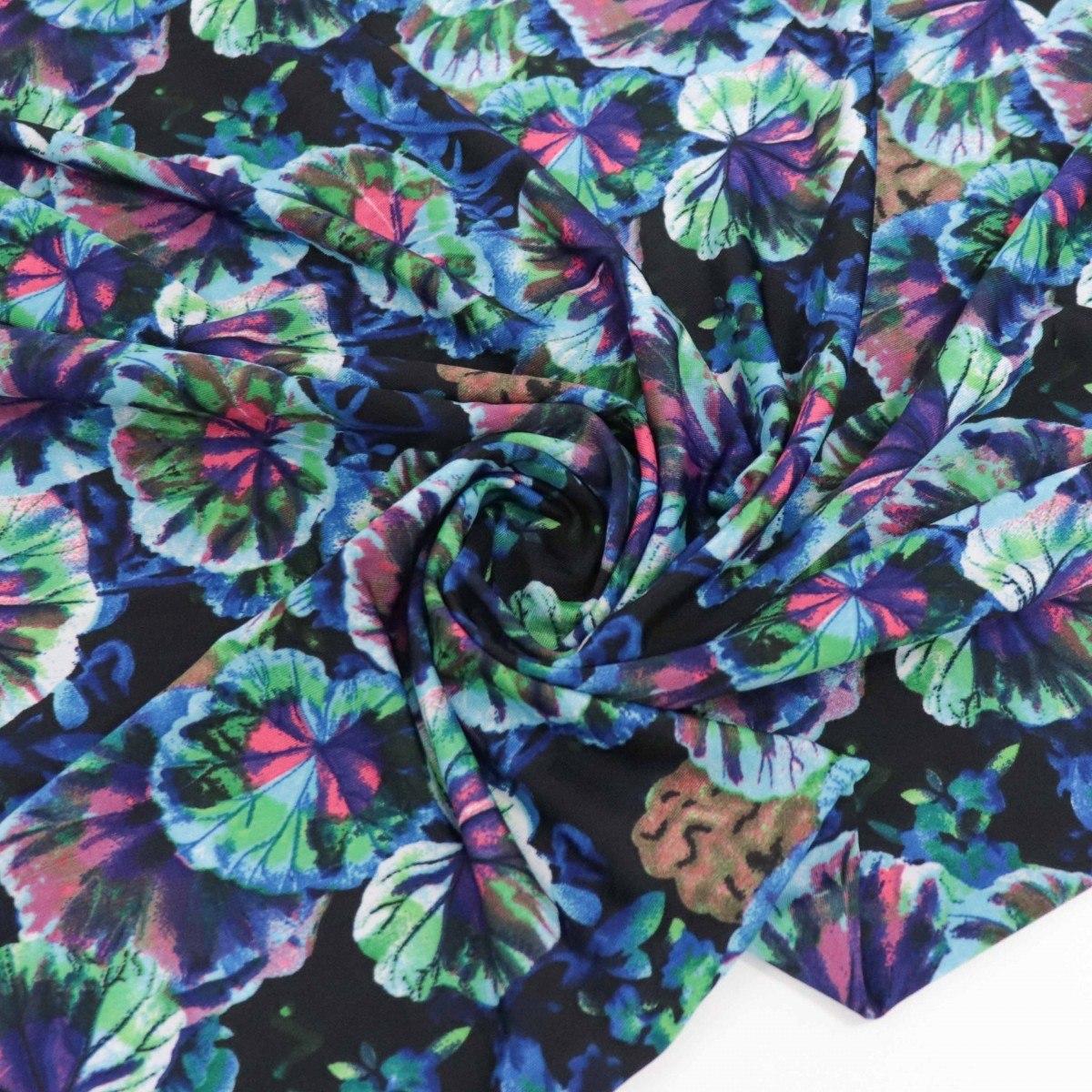 Tecido Malha Liganete Floral Preto e Tons de Azul