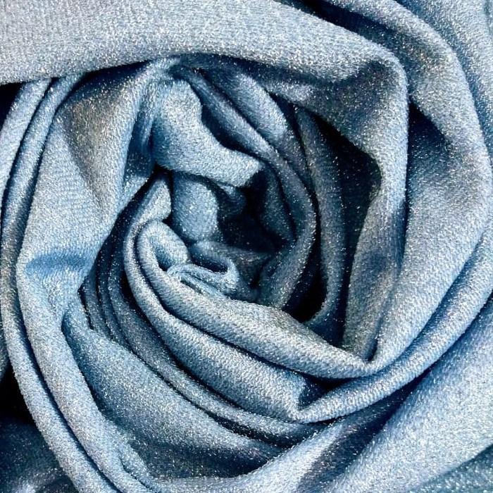 Tecido Malha Lurex Azul Claro Light Com Fio Metalizado Prata