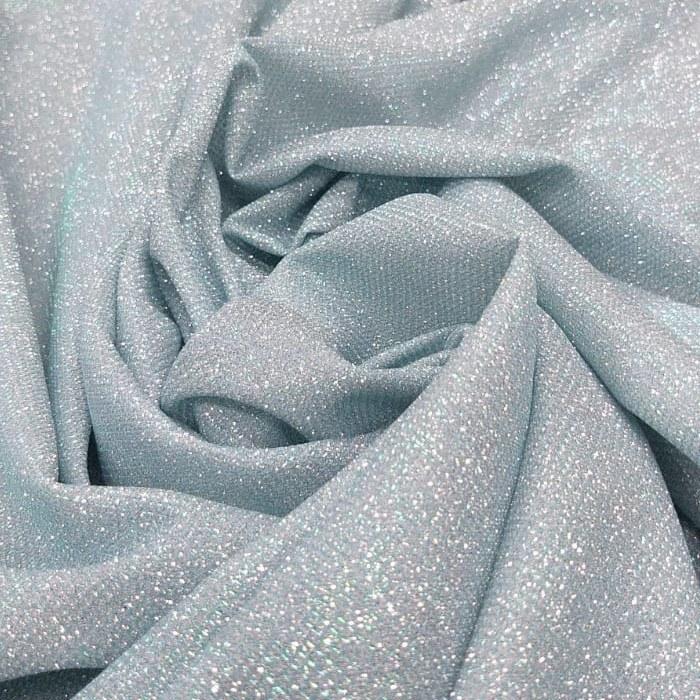 Tecido Malha Lurex Com Glitter Azul Tiffany