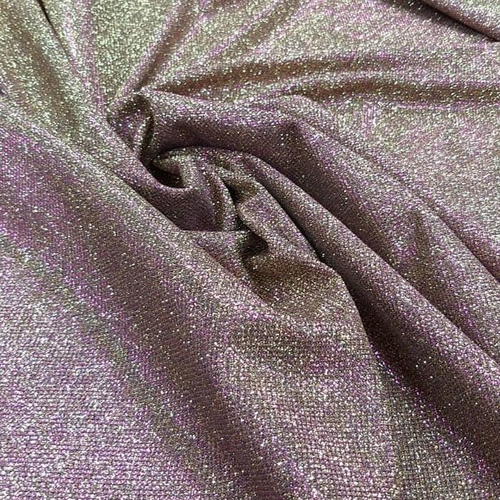Tecido Malha Lurex Com Glitter Dourado Com Fúcsia