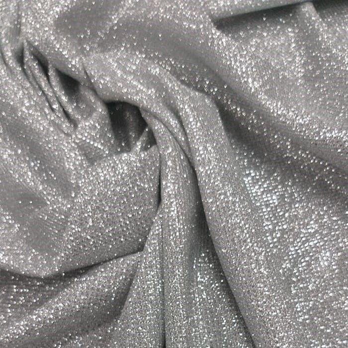 Tecido Malha Lurex Com Glitter Prata