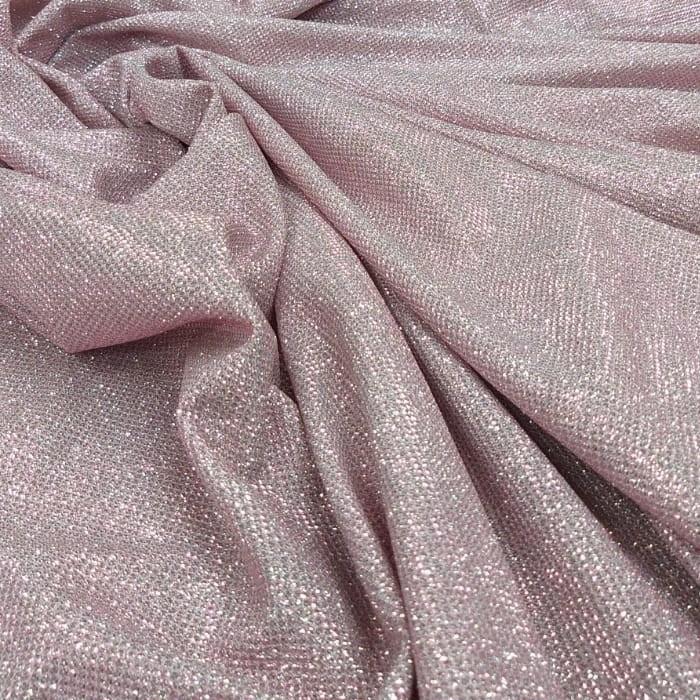 Tecido Malha Lurex Com Glitter Rosê