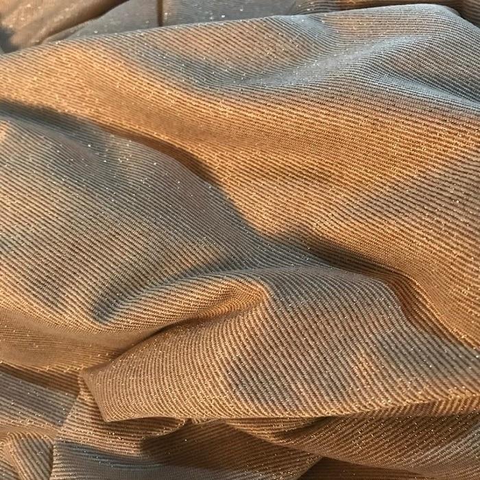 Tecido Malha Lurex Nude Dourada