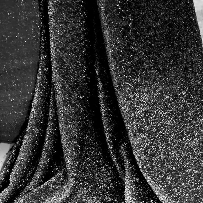 Tecido Malha Lurex Preto Com Fio Metalizado Prata