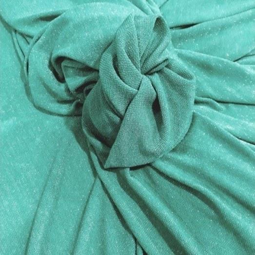 Tecido Malha Lurex Verde Bandeira