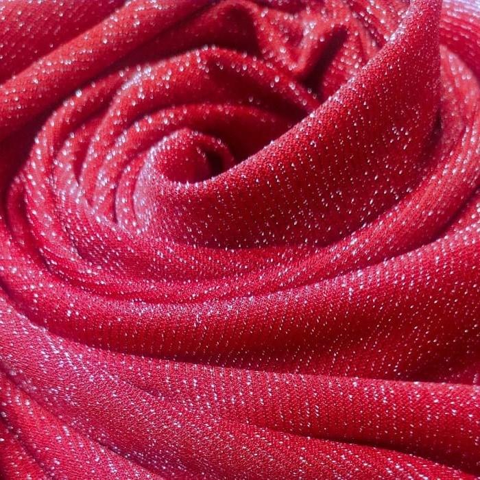 Tecido Malha Lurex Vermelho Com Fio Metalizado Prata