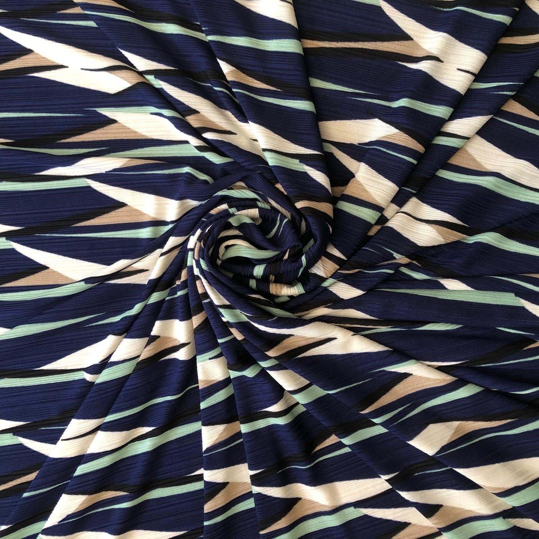 Tecido Malha Otoman Estampado Azul Marinho